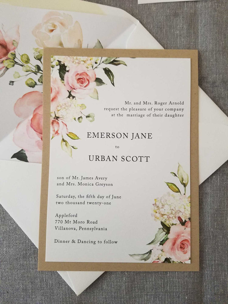 Blushing Garden Wedding Invitation Suite