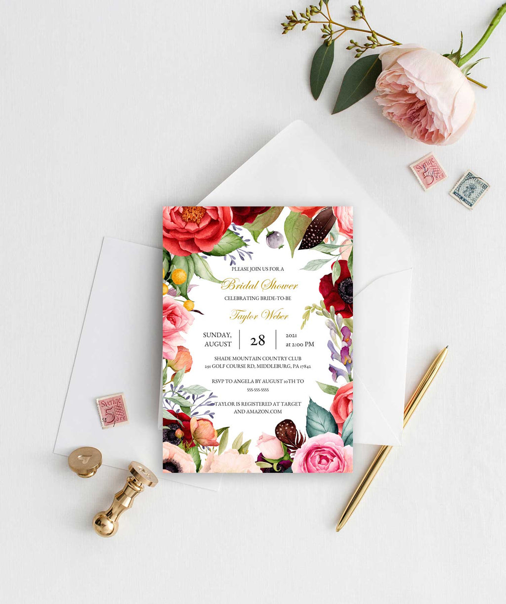 Boho Beauty Wreath Bridal Shower Invitation