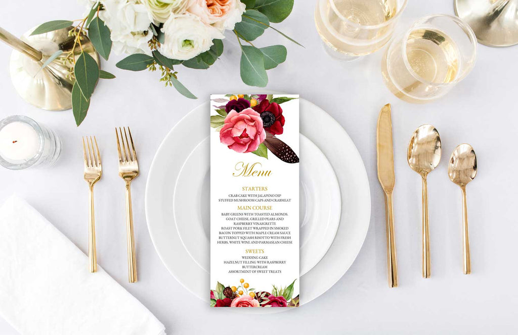 Boho Beauty Wedding Menu Card