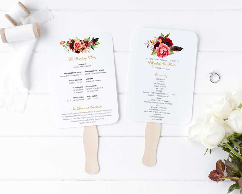 Boho Beauty Wedding Program Fan