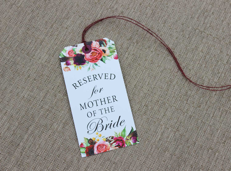 Boho Floral Beauty Reserved Seating Tags