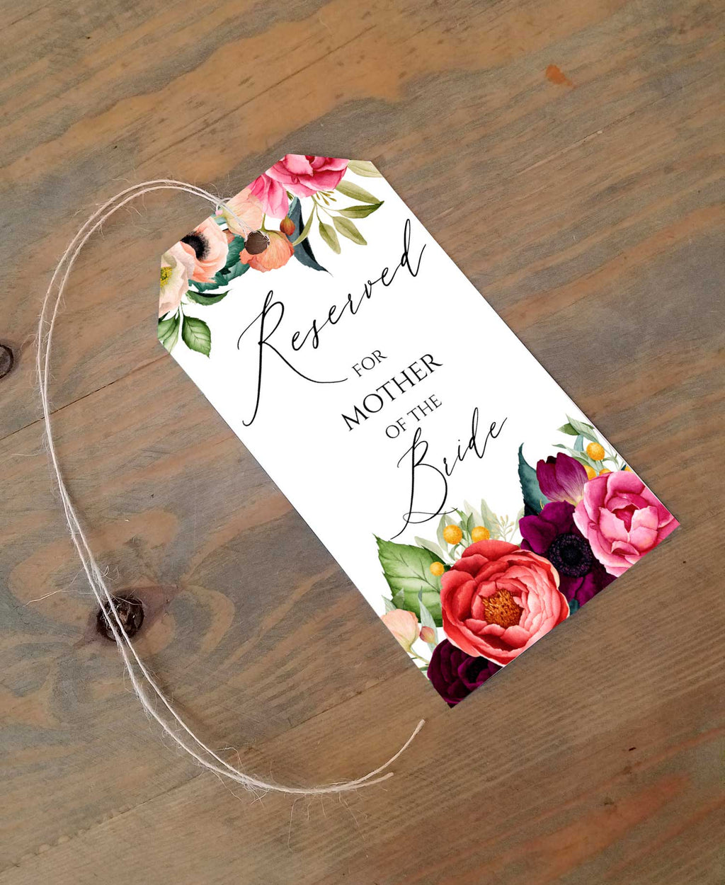 Boho Flowers- Reserved Seating Tags