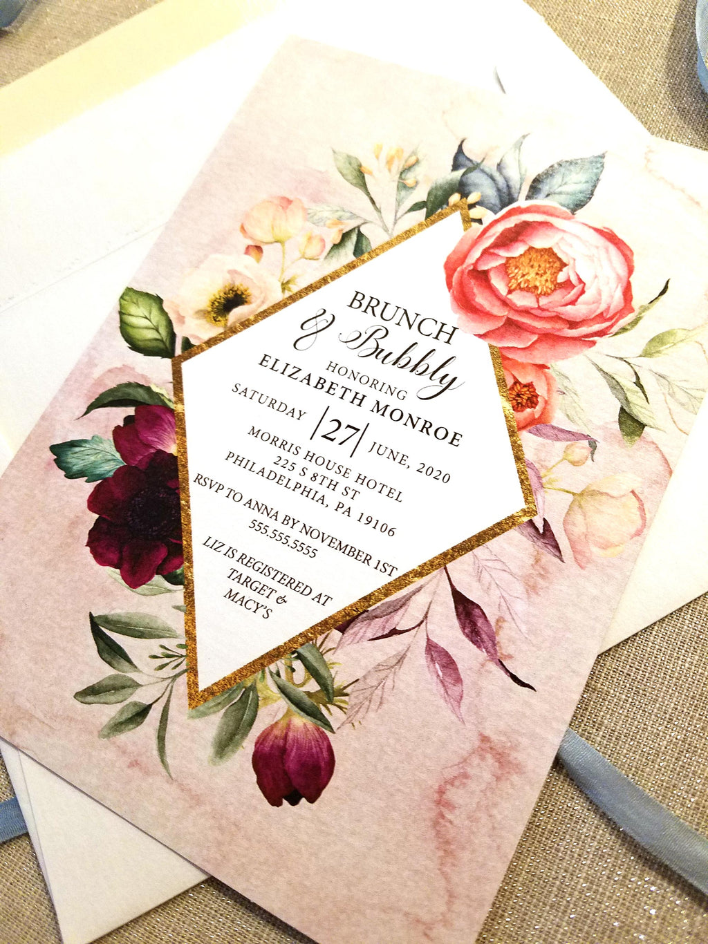 Blush Summer Bouquet Bridal Shower Invitation