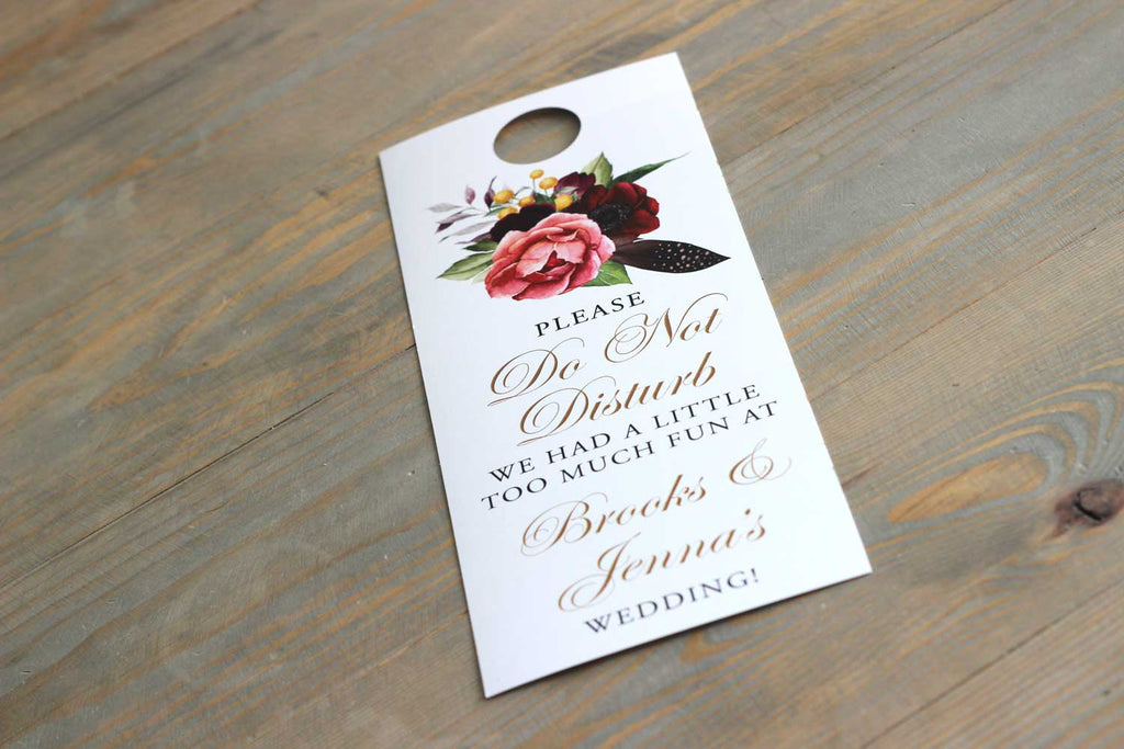 Boho Beauty Floral Do Not Disturb Door Hanger