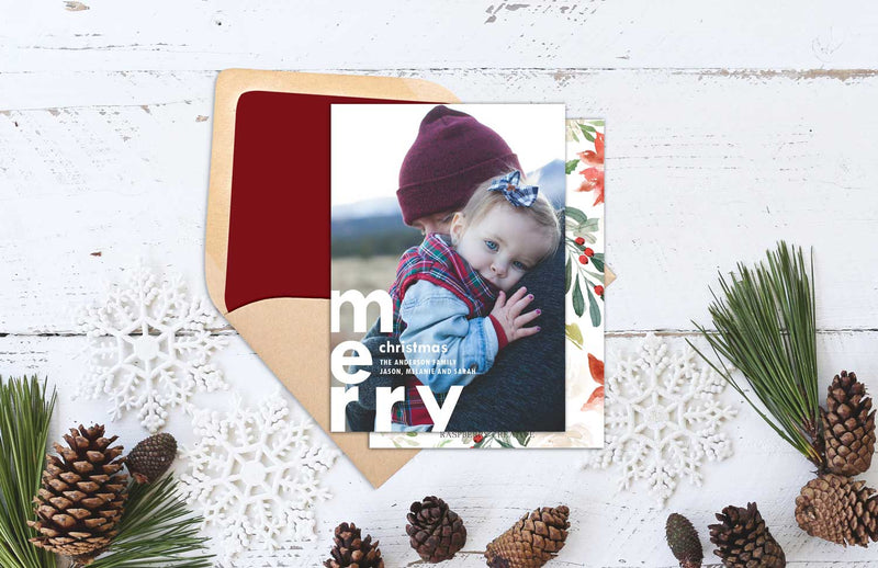 Bold Merry Christmas Modern Holiday Photo Greeting Card