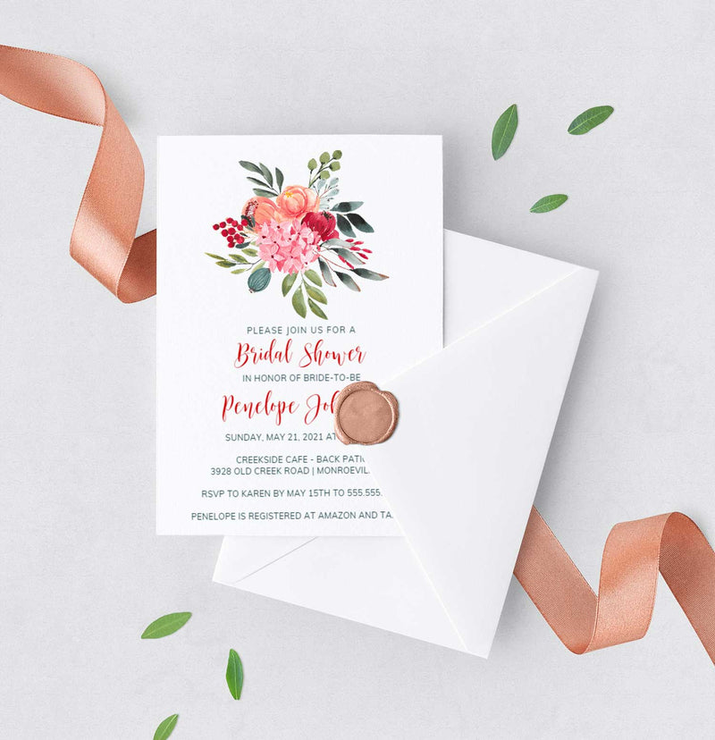 Bold Botanical Bouquet Bridal Shower Invitation
