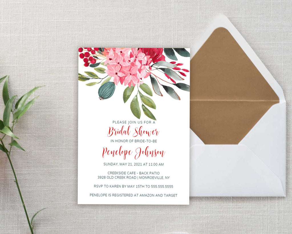 Bold Botanical Bridal Shower Invitation
