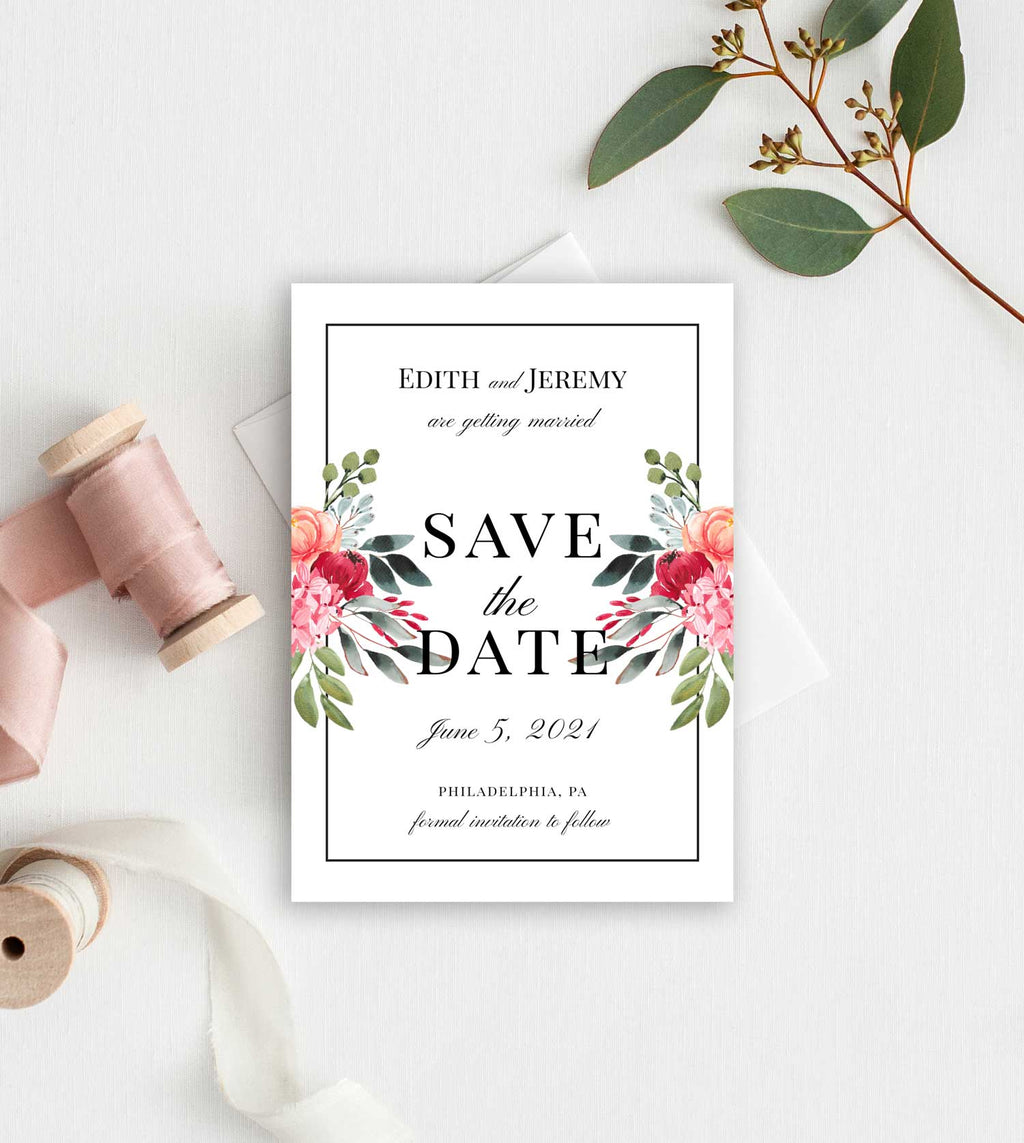Bold Botanical Border Save the Date Card
