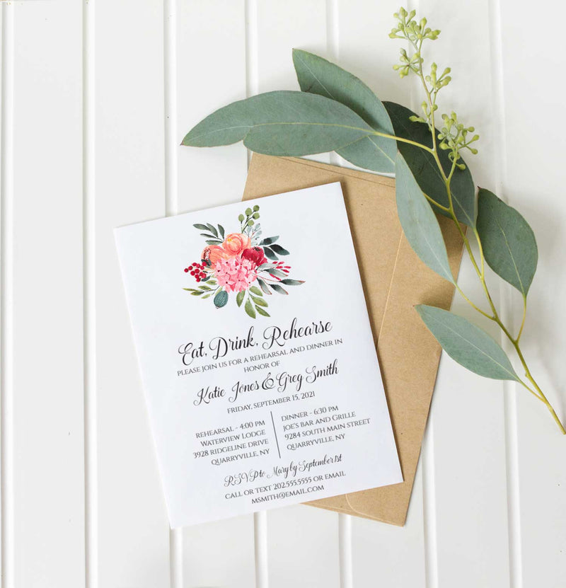 Colorful Boho Bouquet Rehearsal Dinner Invitation