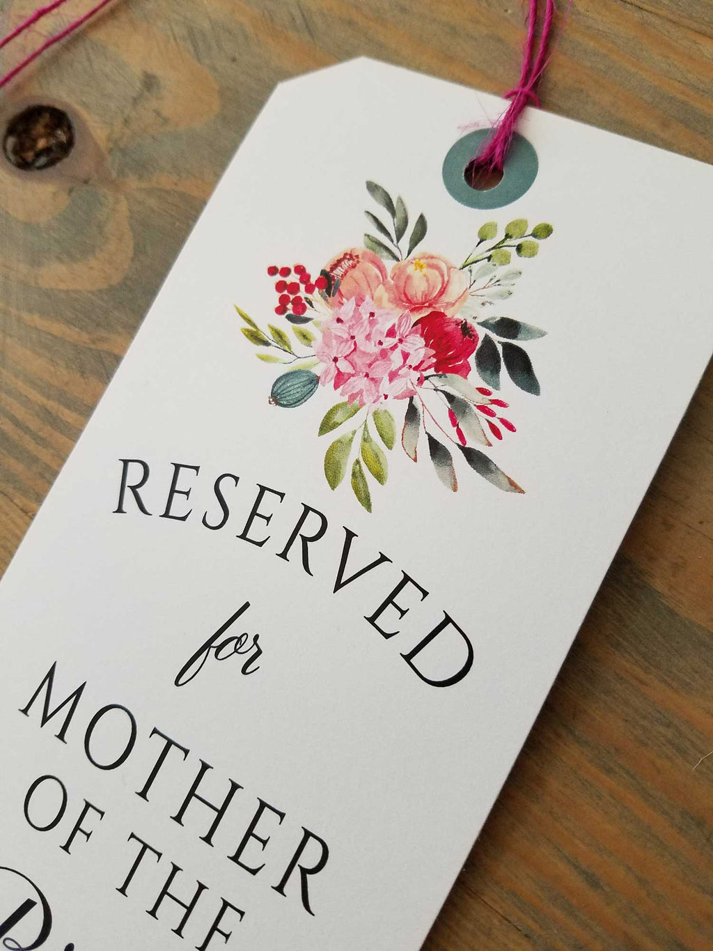 Bold Botanicals Reserved Seating Tags