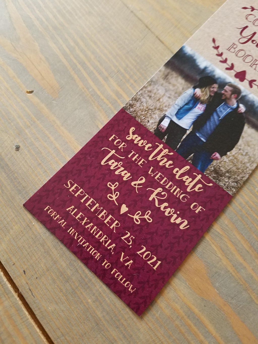 Burgundy and Gold Save the Date Bookmark