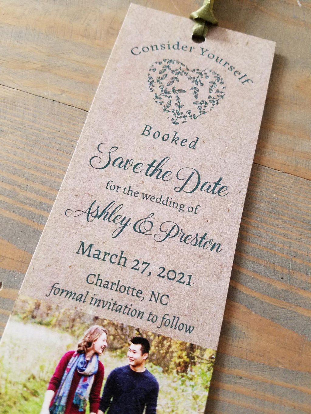 Kraft Heart Bookmark Save the Date