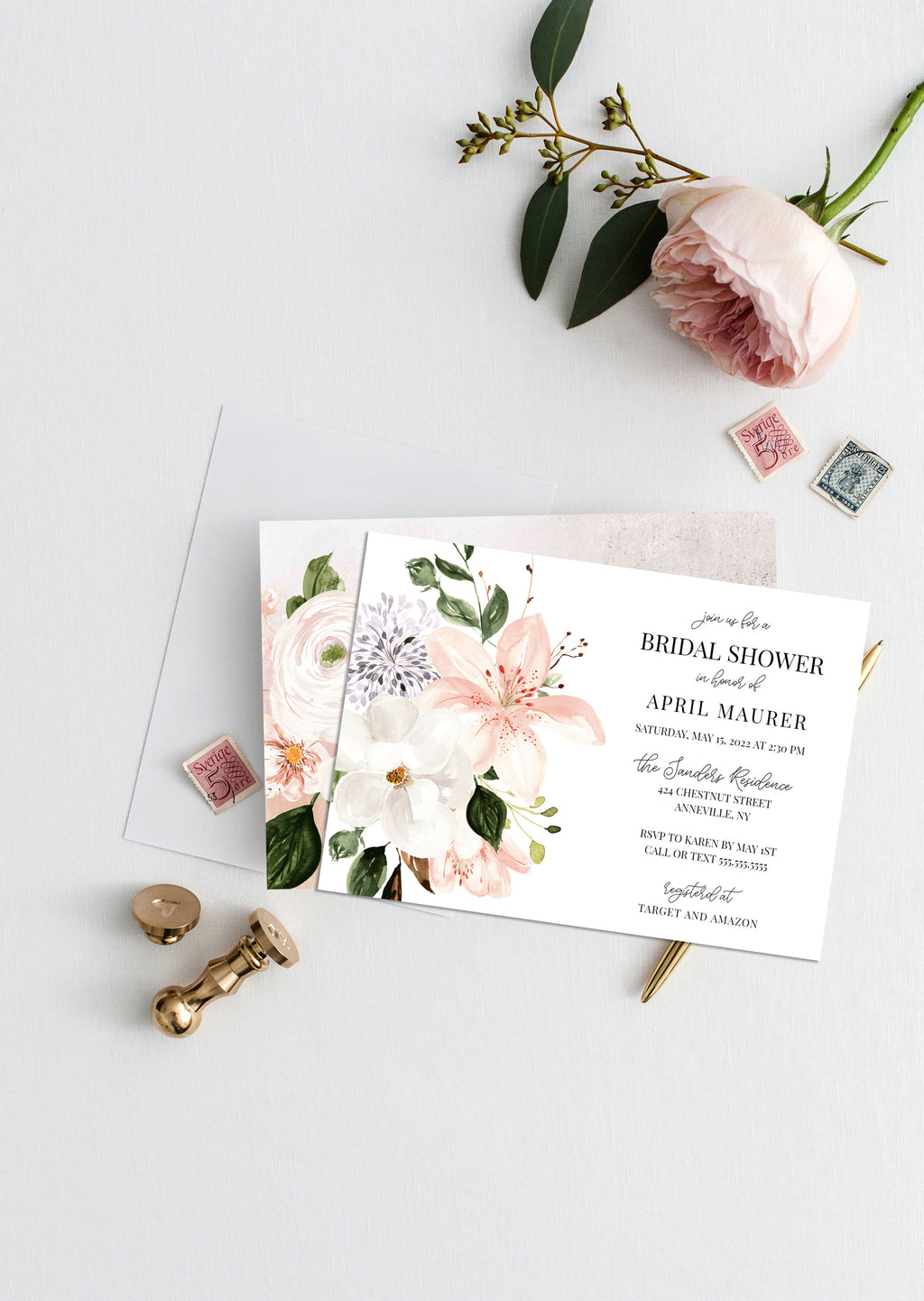 Botanica Bouquet Bridal Shower Invitation