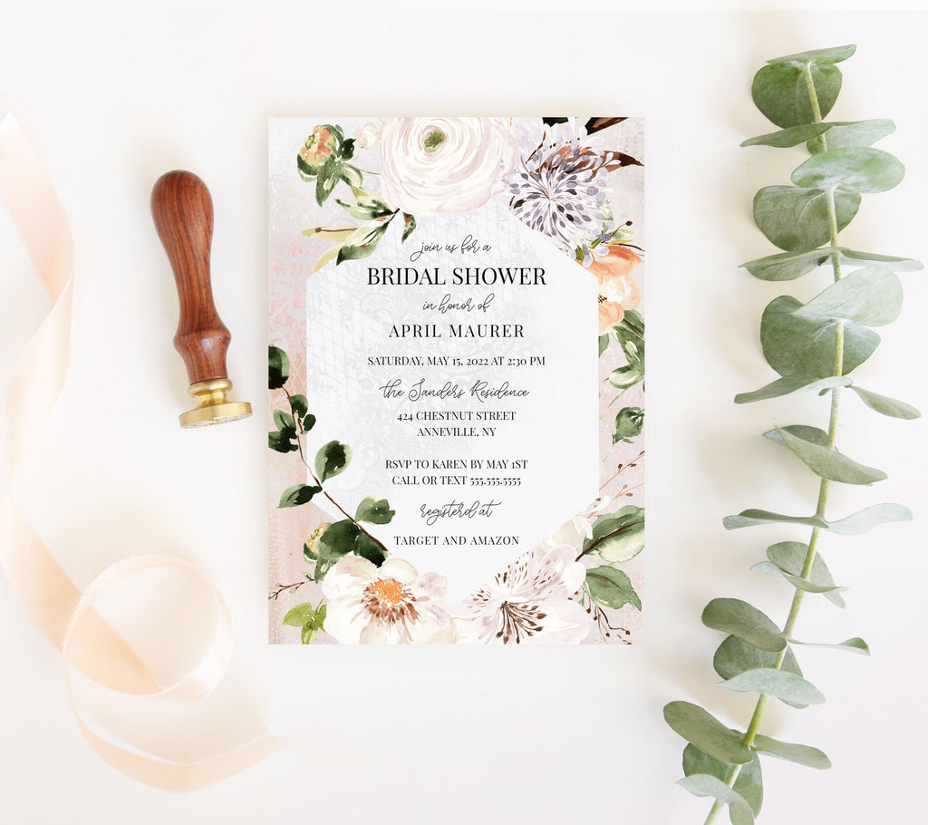 Botanica Geometric Frame Bridal Shower Invitation