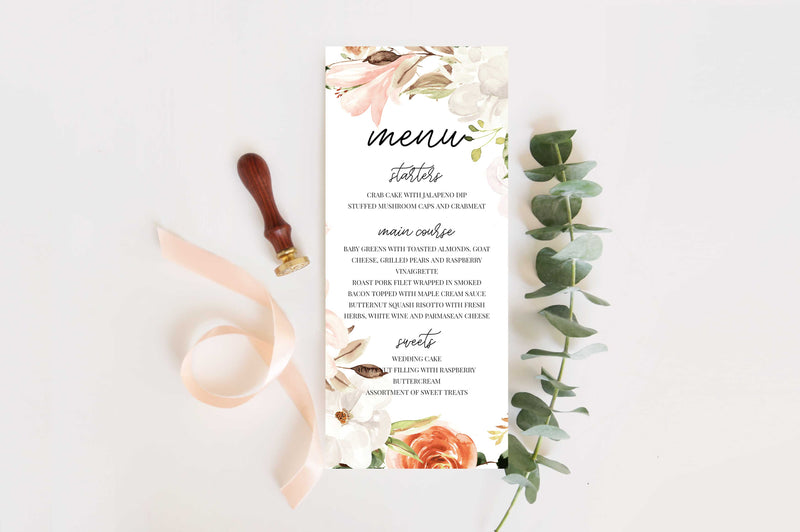 Botanica Wedding Menu Card