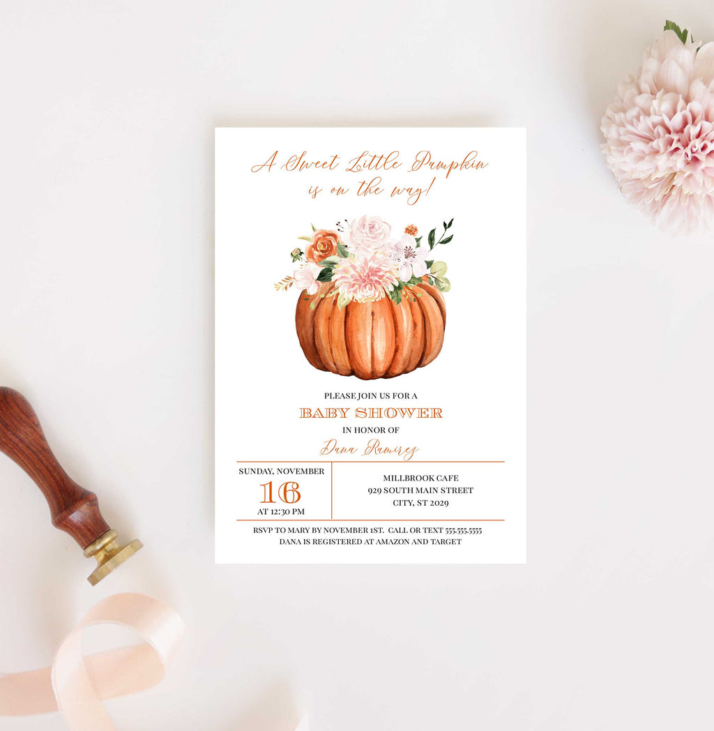 Botanica Little Pumpkin Fall Baby Shower Invitation