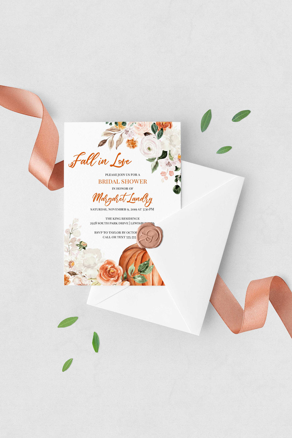Botanica Fall Pumpkin Bridal Shower Invitation - Fall in Love