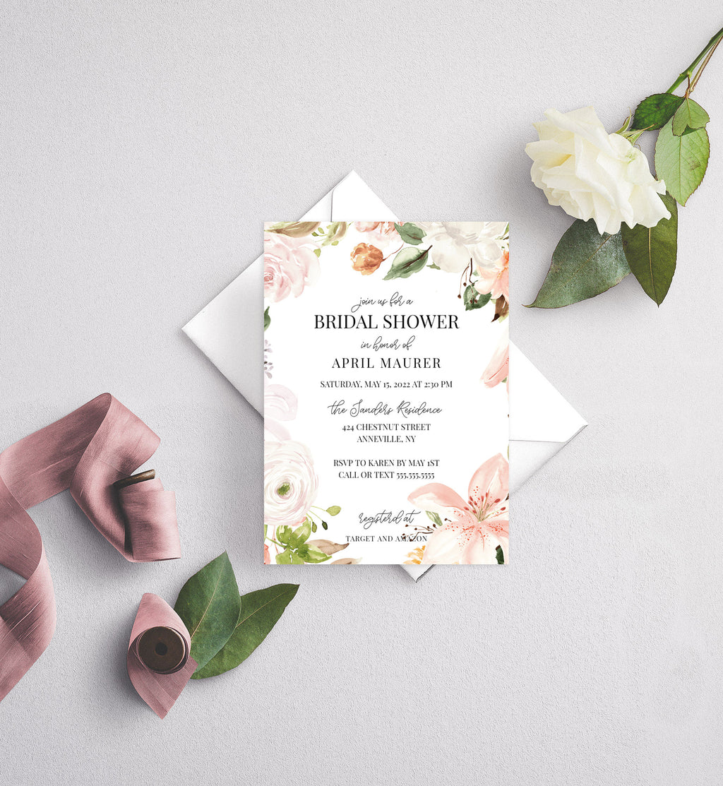 Botanica Wreath Bridal Shower Invitation