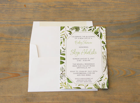 Greenery Botanical Baby Shower Invitation Gender Neutral