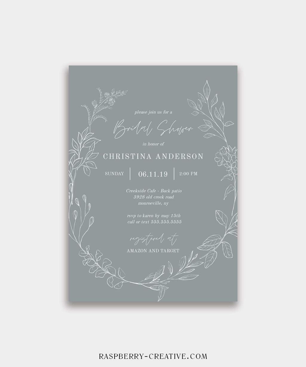 Slate Blue Hand Drawn Wreath Bridal Shower Invitation