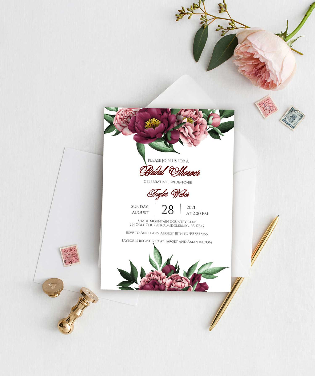 Burgundy Beauty Bridal Shower Invitation