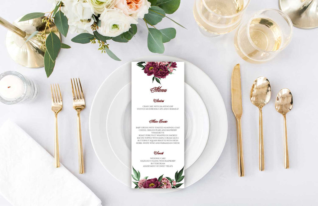 Burgundy Beauty Wedding Menu Card