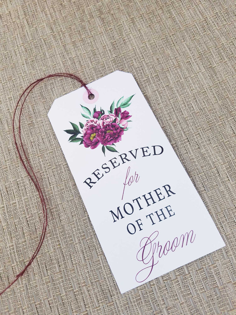 Burgundy Beauty Reserved Seating Tags