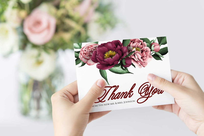 Burgundy Beauty Thank You Card