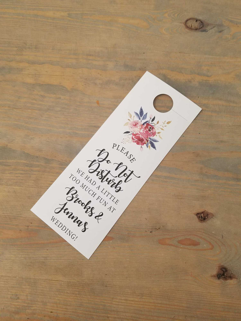 Burgundy, Gold and Teal Bouquet Do Not Disturb Door Hanger