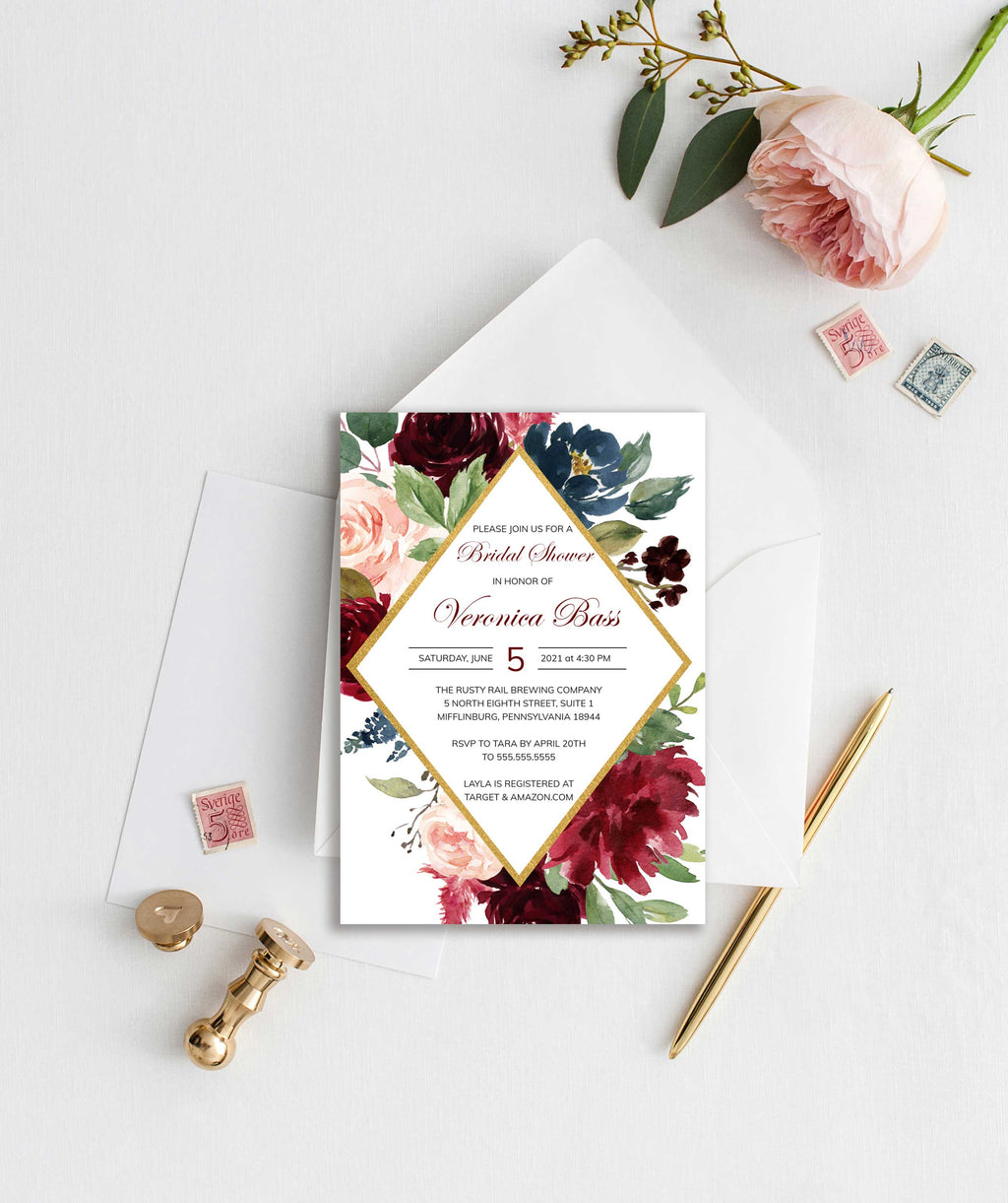 Burgundy, Blush and Navy Diamond Bridal Shower Invitation