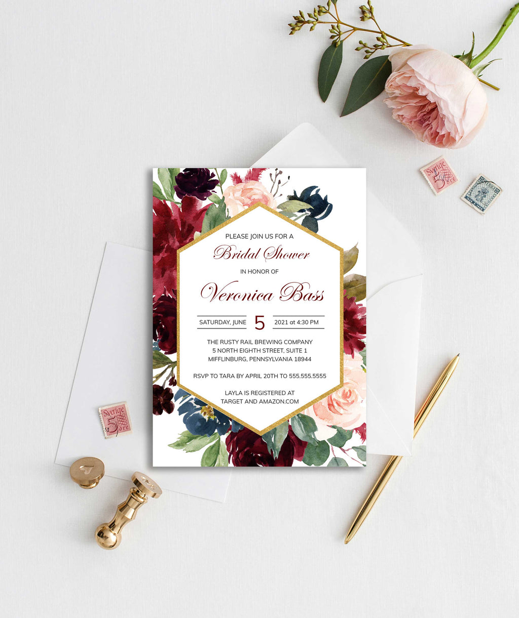 Burgundy, Blush and Navy Geometric Bridal Shower Invitation