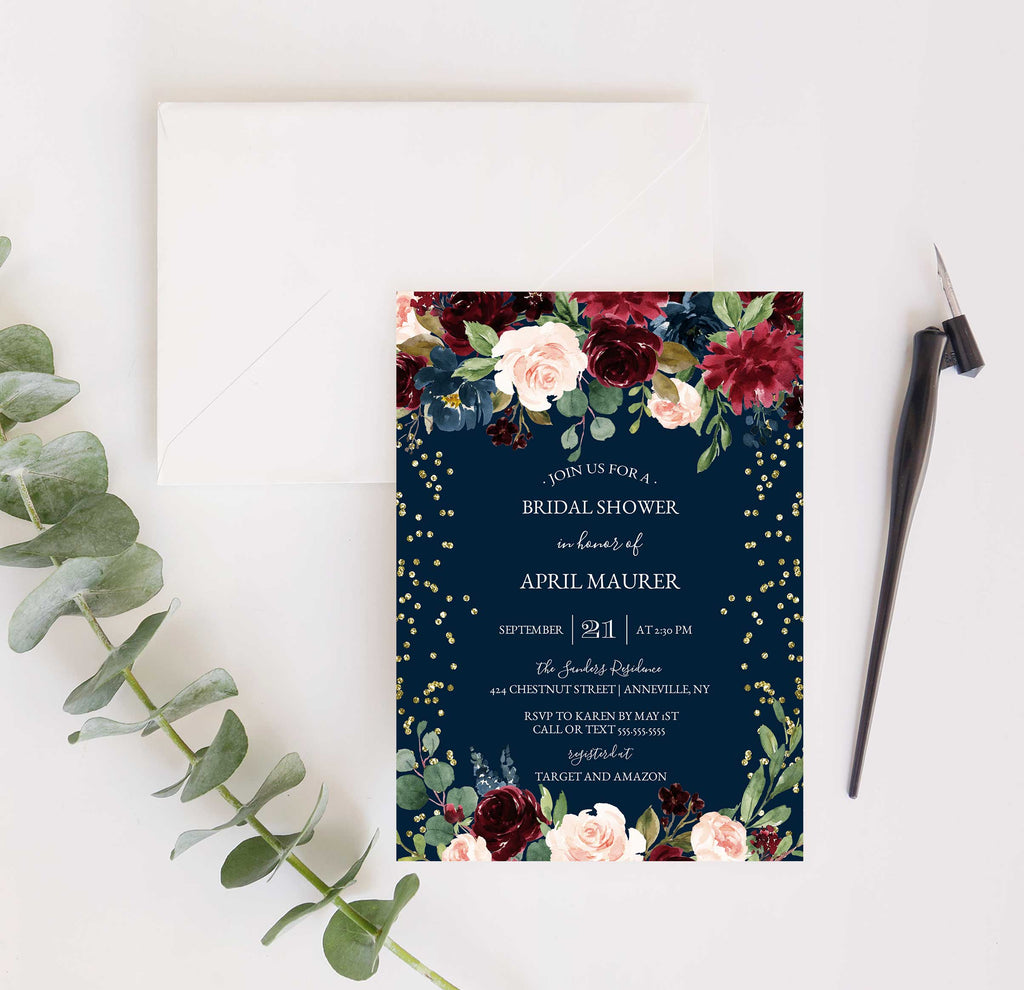 Navy Blue, Burgundy and Blush with Gold Glitter Bridal Shower Invitation