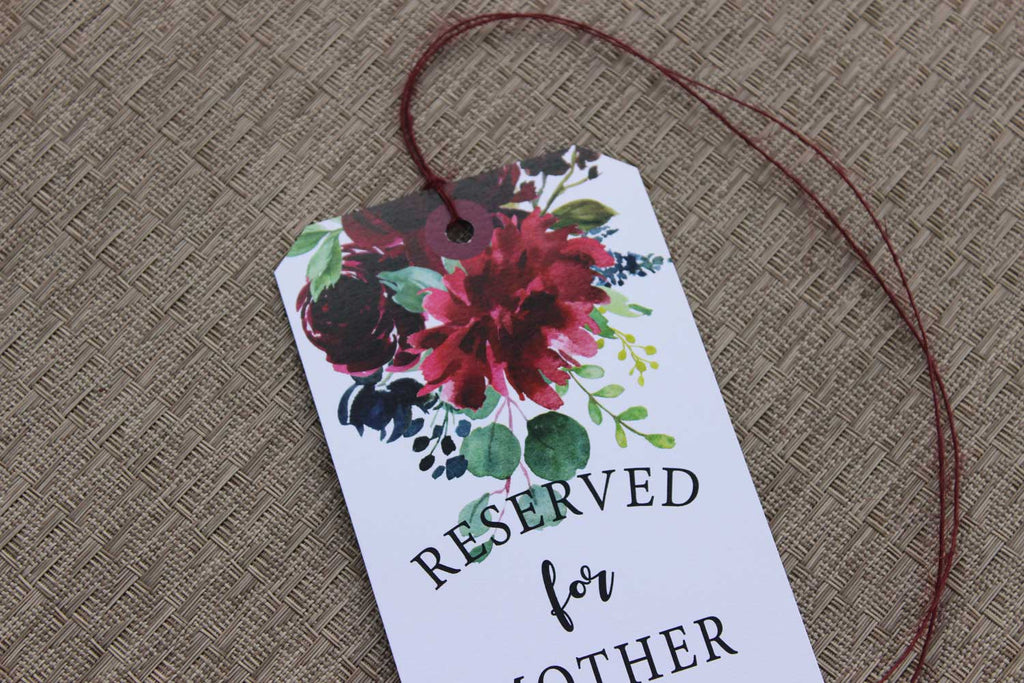 Burgundy  Blush and Navy Blue Reserved Seating Tags