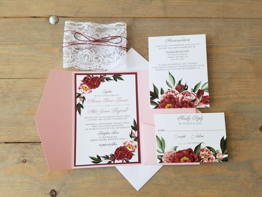 Burgundy and Dusty Rose Pocket Wedding Invitation