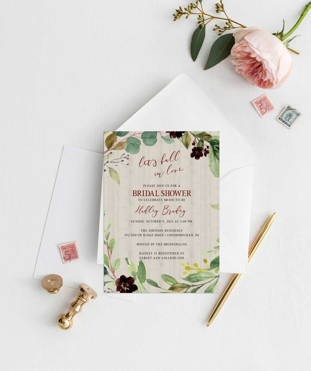 Burgundy Harvest Bridal Shower Invitation