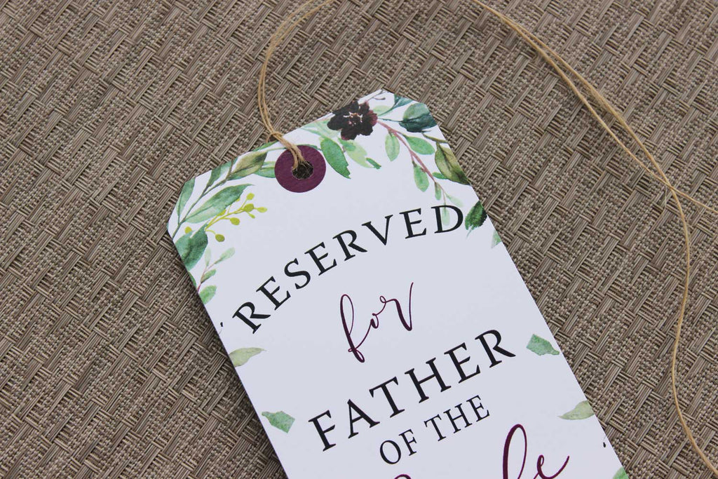 Burgundy Harvest Reserved Seating Tags