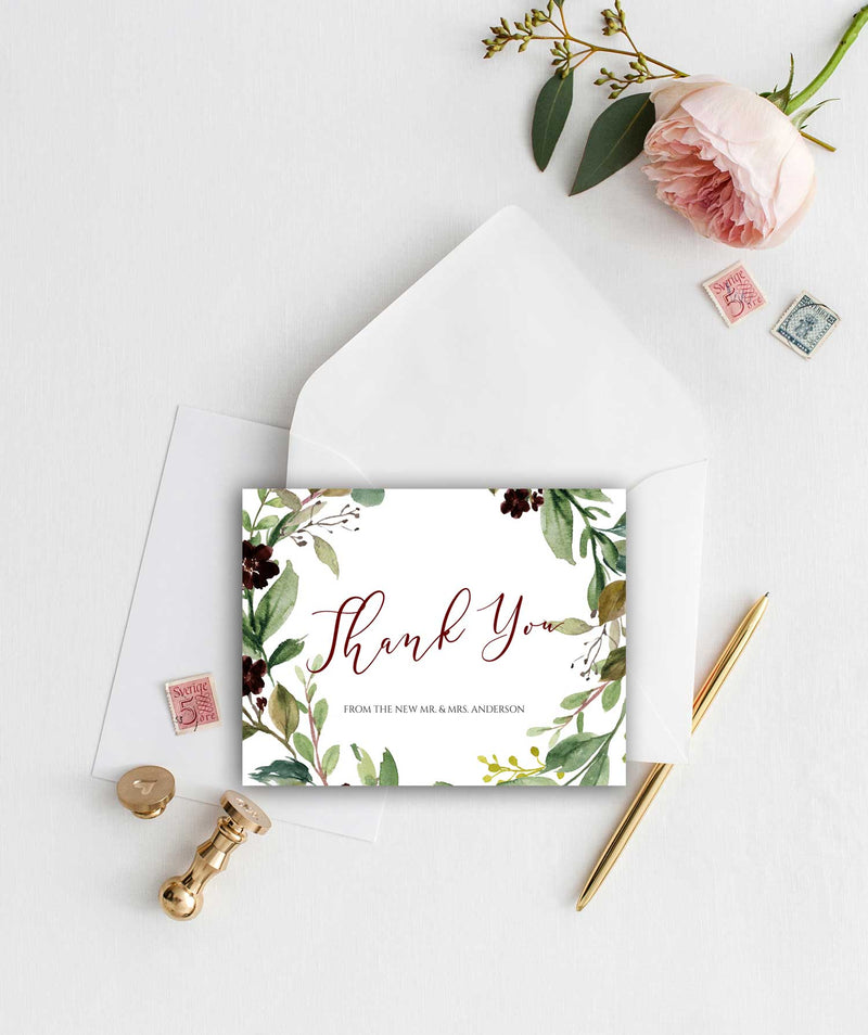 Burgundy Harvest Thank You Card