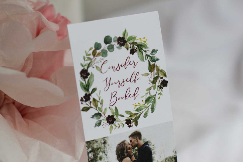 Burgundy Harvest Wreath Save the Date Bookmark