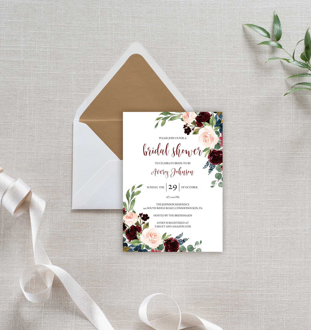 Burgundy and Blush Bridal Shower Invitation