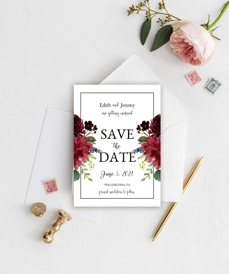 Burgundy, Blush and Navy Save the Date