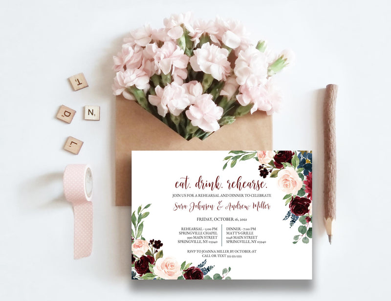 Burgundy Blush and Navy Rehearsal Dinner Invitation