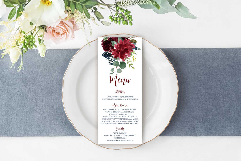 Burgundy and Navy Wedding Menu Card