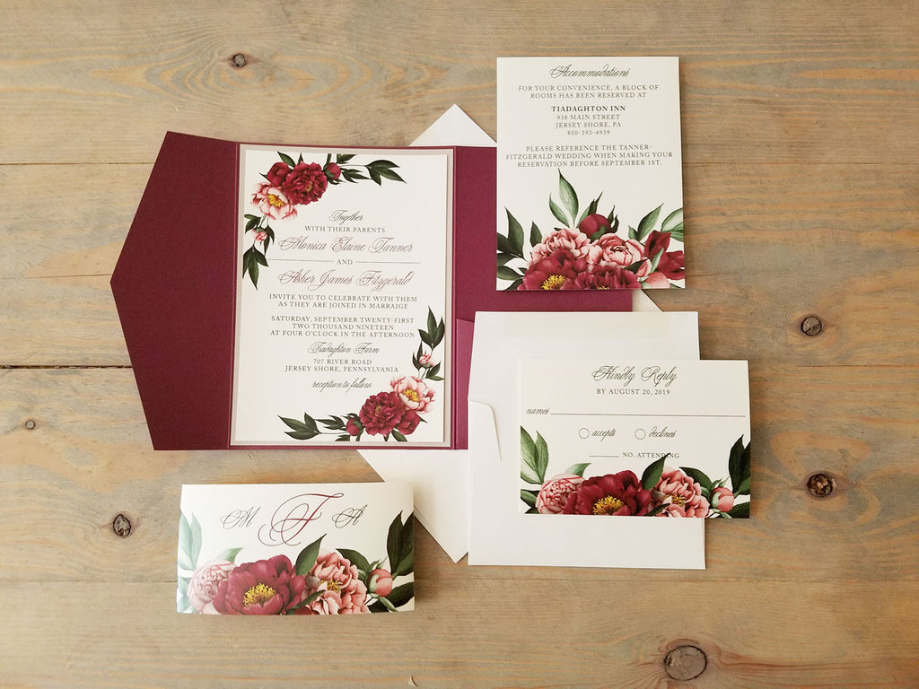 Burgundy Pocket Wedding Invitation Suite