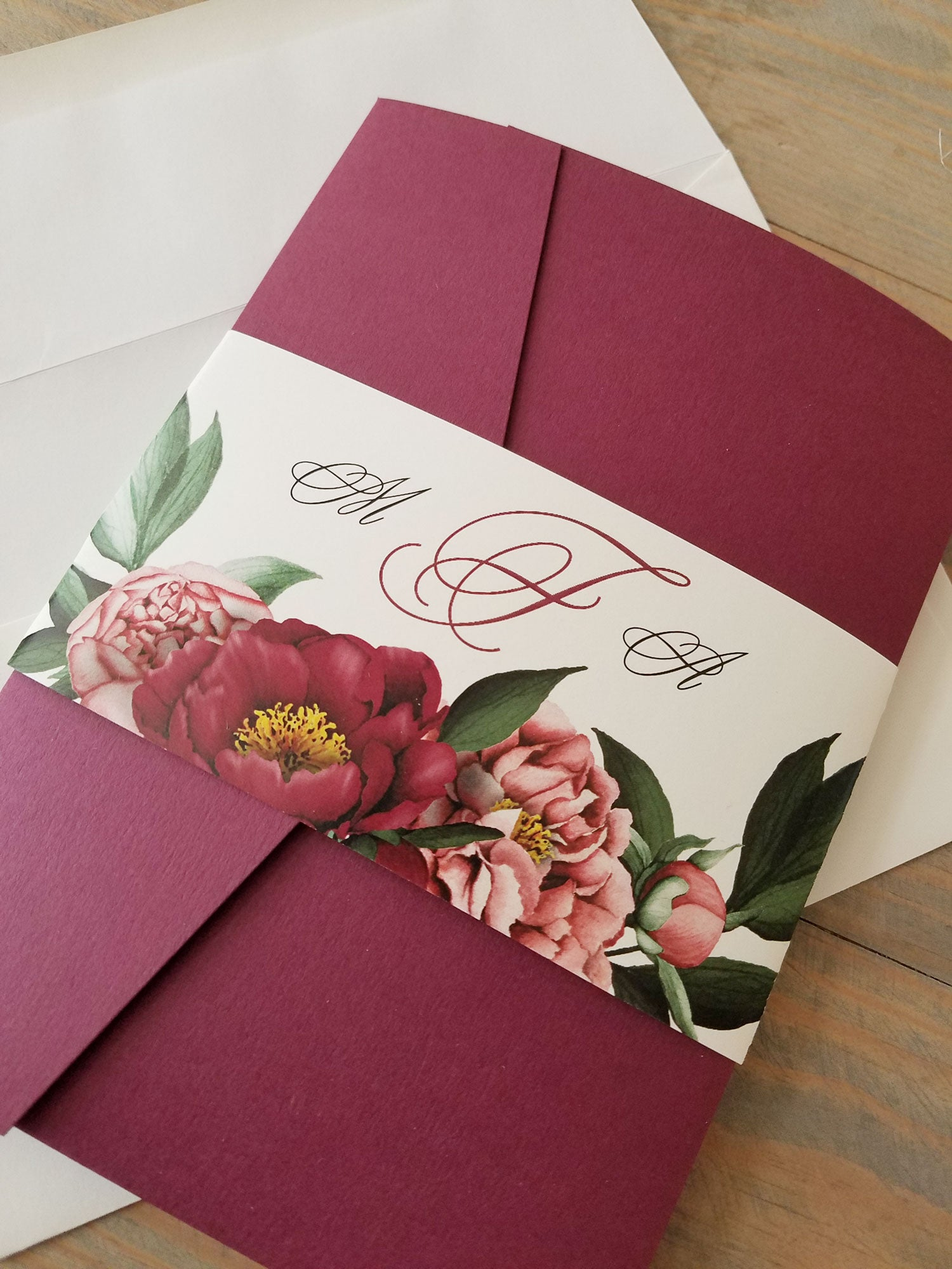 Burgundy Pocket Wedding Invitation - Raspberry Creative