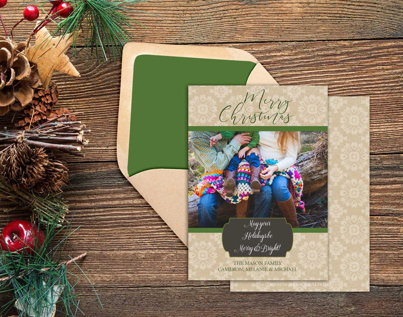 Faux Burlap Holiday Photo Greeting Card