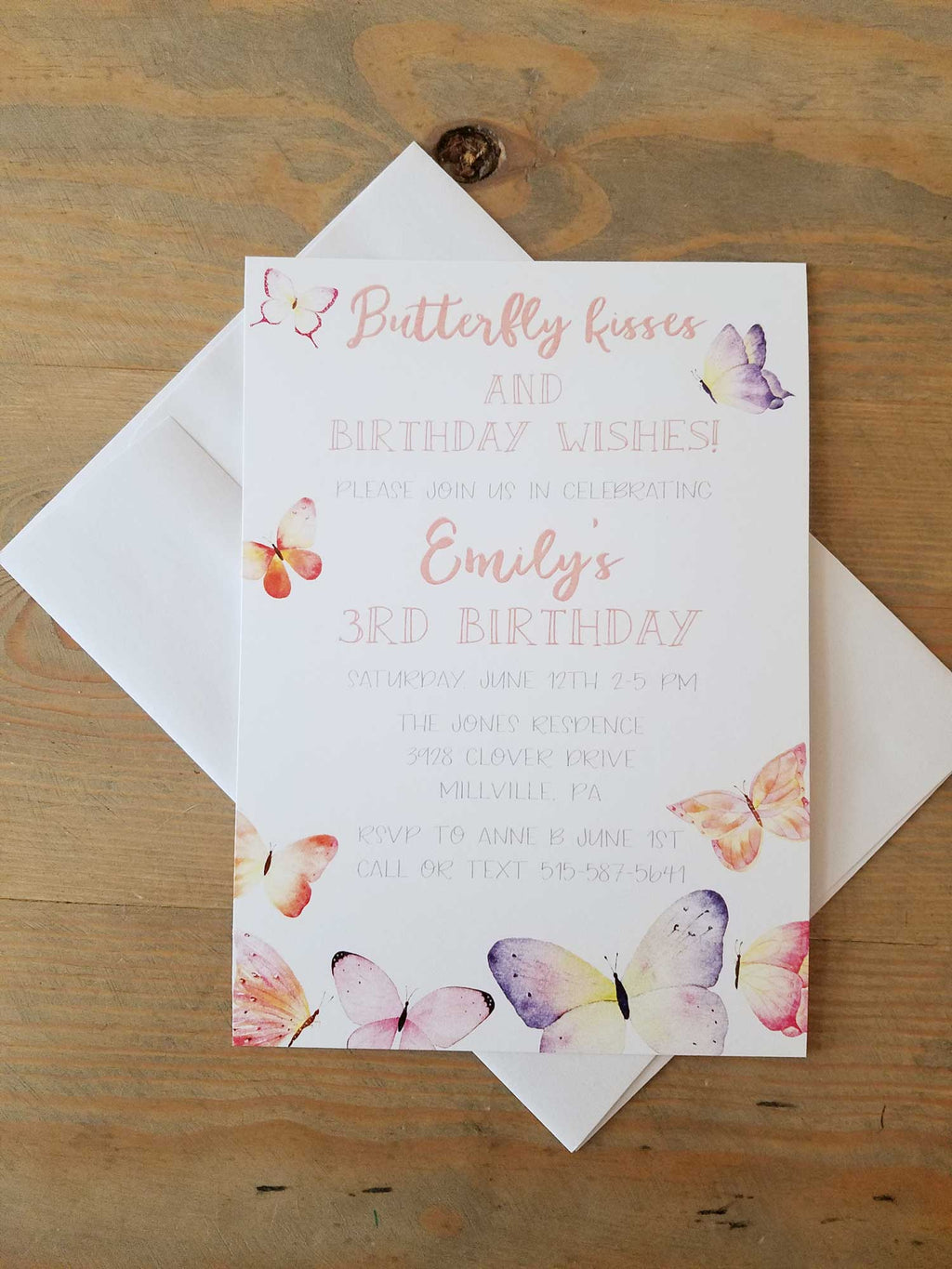 Butterfly Kisses Birthday Party Invitation