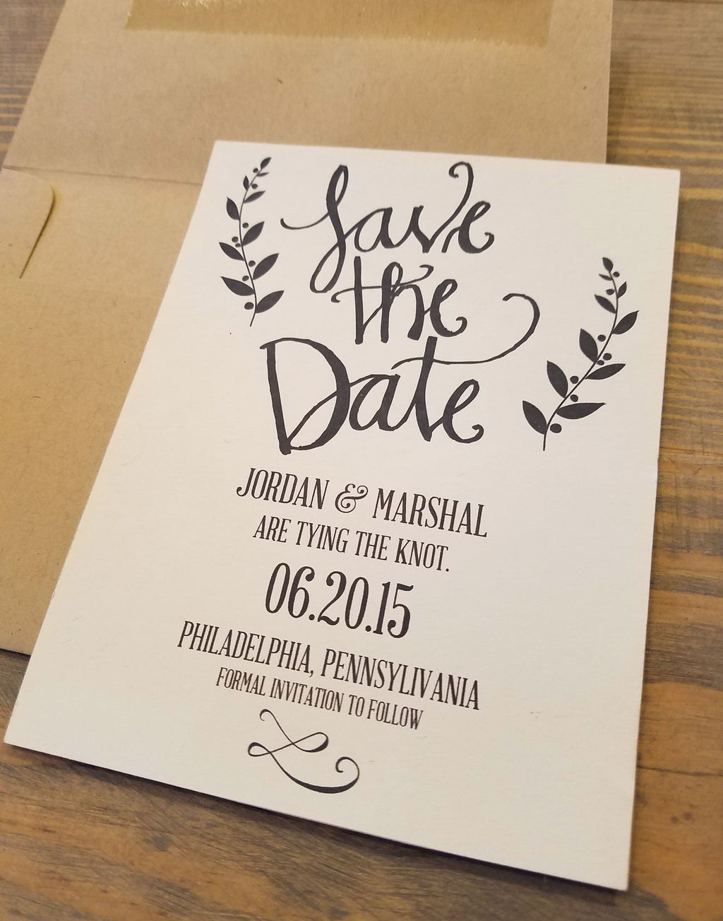 Calligraphy Save the Date with Tag