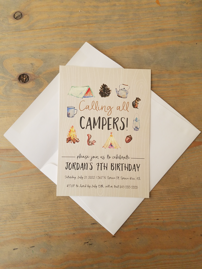 Camping Theme Birthday Party Invitation