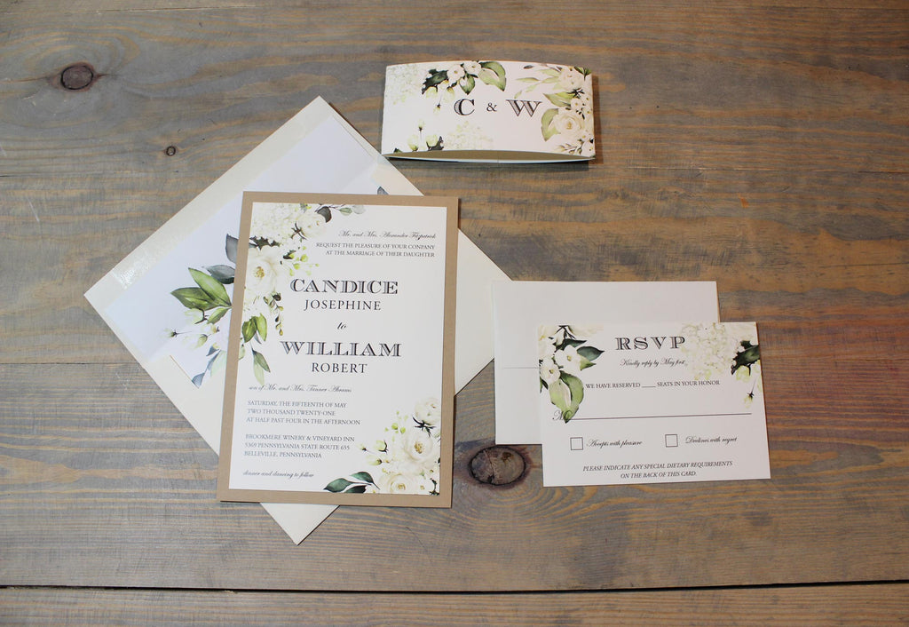 White and Ivory Roses Neutral Wedding Invitation Suite