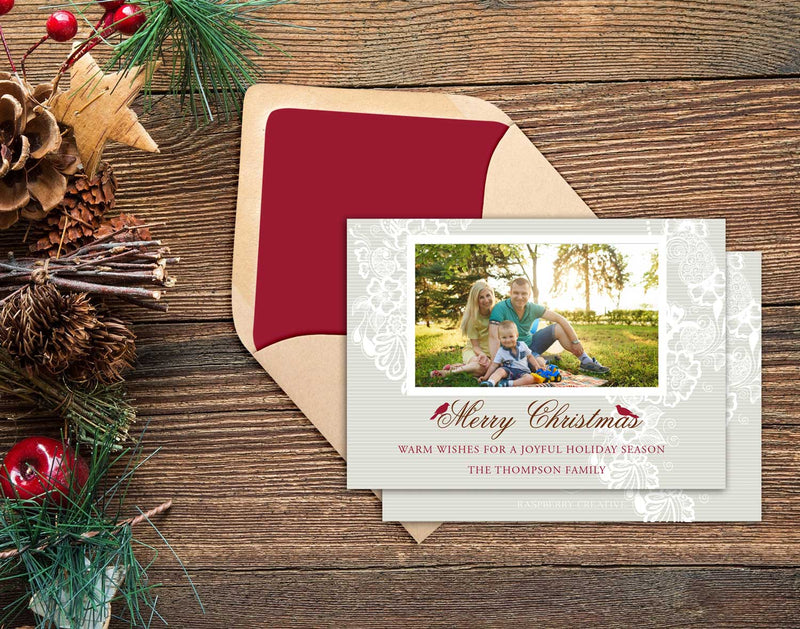 Red Cardinal and Lace Holiday Photo Greeting Card